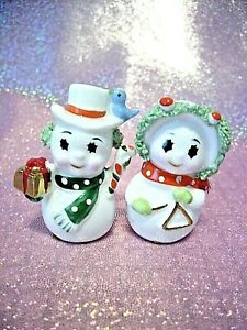 *RARE VTG Napco Christmas Miniature Mr & Mrs Snowman Green Red Couple Figurines