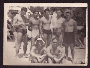 Old Soviet Vtg Photo Shirtless Naked Athlete Handsome Young Men Bulge Trunks