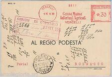 56981 - REGNO - STORIA POSTALE : Annullo ROSSO MECCANICO su CARTOLINA - VERCELLI