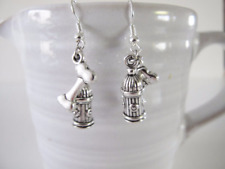 NEW DOG BONE FIRE HYDRANT EARRINGS SURGICAL STEEL EAR WIRES GIFT BOX INCL