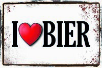 I Love Bier Blechschild Schild gewölbt Metal Tin Sign 20 x 30 cm CC1062
