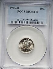 """New listing 1945-D Mercury Silver Dime ~ Pcgs Ms 65 Fb """"Full Bands"""