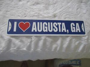 I LOVE AUGUSTA GA; Plastic sign: 18 inches, NEW