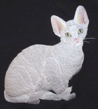 Embroidered Ladies Short-Sleeved T-Shirt - Devon Rex Cat C7919