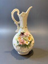 """Vintage Lefton Porcelain 6.75"""" Pitcher Vase Kw 4540 Handpainted Applied Roses"""