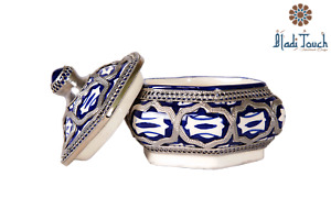 DIAMOND BLUE&WHITE CERAMIC CANDY DISH /TRINKET BOX GIFT IDEA **FREE SHIPPING**