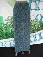 60s Vtg Jacquard Bill Atkinson maxi Velour Skirt Shades of Steel Blue