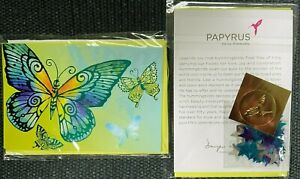 Papyrus Foil Embossed Butterflies blank note card w/ packet of bling - G. Flores