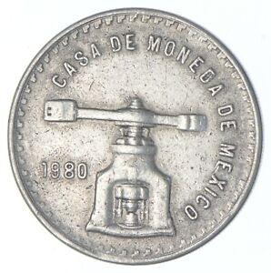 SILVER - HUGE - 1980 Mexico 1 Onza Silver - World Silver Coin *455