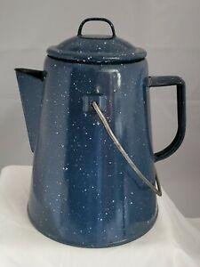 Vintage enamelware western campfire coffee pot blue white speaks 2 handles