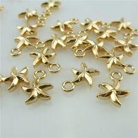14032 100PCS Alloy Mini Rose Gold Tone Pentagram Pendant Charms