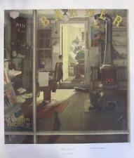 "Norman Rockwell Facsimile Signed  Collotype ""Shuffleton's Barber Shop"""