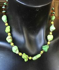 Green Turquoise Bead Necklace Strand And Earrings Set, Demi Parure.