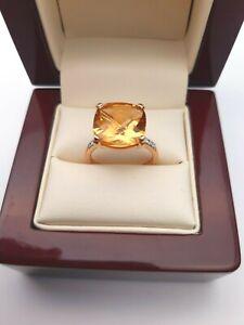 18K Rose Gold Citrine & Diamond Cocktail Ring 5.80 carats Hallmarked