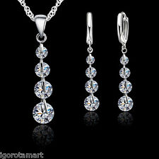 New Lady's Tear Drop CZ Gem Necklace Stud Pendants Jewelry Set Sterling Silver