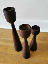 wooden candlestick/tealight holders x 3. Dark Brown