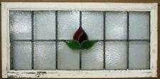 """OLD ENGLISH LEADED STAINED GLASS WINDOW TRANSOM Simple Flower 33"""" x 16.25"""""""