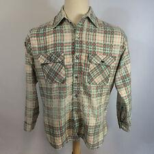 Vintage 70s Distressed Trashed Paper Thin Flannel Work Plaid Shirt Sear Worn M