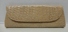 Elegant Beige Tan Croc Embossed Envelope Clutch Wristlet Handbag Purse