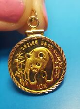 24K 1/10 OZ 1986 CHINESE PANDA COIN SET IN 14K SOLID GOLD COIN PENDANT, 3.83 g