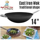 "Cast Iron Wok Pre Seasoned Cooking Pan Kitchen Cookware Kitchenware Black 14"""