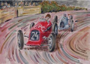 Artimotor - acrílico 31x23 / 1935 Philippe Etancelin - Maserati 6C (GP Monaco)