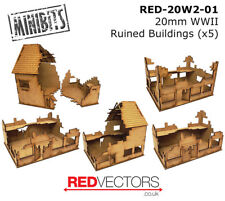RED-20W2-01 - 20mm Wargames - Ruined Buildings x 5 (for WWII)