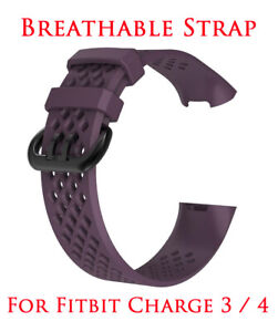 Strap for Fitbit Charge 3 4 Replacement Watch Band Vent Breathable PURPLE
