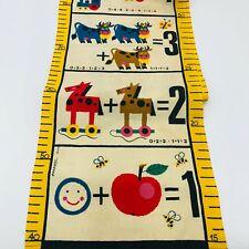 "Vintage Hanging Cloth Growth Chart Gnomes Black Farmer Animals Fruit Fun 75"""