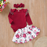 3PCS Newborn Baby Girls Tops Romper Floral Dress Headband Outfits Set Clothes