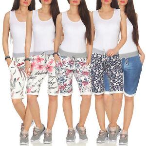 Damen Bermuda kurze Hose Sweat Pants Capri Shorts Jogginghose Chino Stoffhose 98