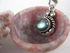 Labradorite Silver Pendant ~ Small stone, sterling, bright!