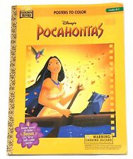"""1996 Disney Golden Books """"Pocahontas"""" 4 Coloring Sheets & 20""""x14"""" Poster UNUSED"""