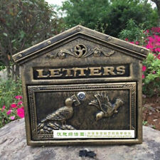 Vintage Retro Cast Iron Locking Wall Mount Mailbox Lockable Postal Letter Box