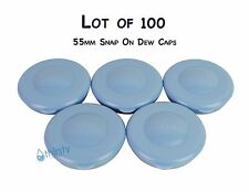 Water Bottle Blue Dew Cap Snap On 55mm Lot of 100 Aqua H2O Drinking Jug Tops New