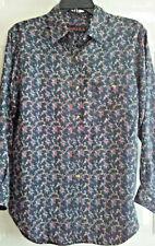 Coreen Womens Small Silk Shirt Blue Floral 100% Silk Long Sleeves Button Down