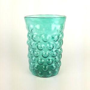 Blenko Glass Vase Bubbles 6041 Wayne Husted 50s 60s Signed Sea Green 9in Vtg