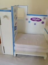 AMERICAN GIRL DOLL MIA DESK PULL OUT BED ARMOIRE FIGURE SKATING THEME WHITE BLUE