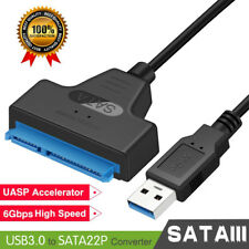"USB 3.0To SATA 22Pin Adapter Cable for 2.5"" External Hard Disk Driver HDD SSD HQ"