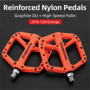 "ROCKBROS Wide Flat Bike Pedals Nylon DU Bearing 9/16"" MTB Road Bicycle Pedals"
