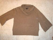 XL Dark Oatmeal Brown Cowl Neck Willi Smith 100% cotton 3/4 sleeves EUC