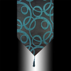 LUXURY TURQUOISE POLYESTER CIRCLES DECORATIVE TASSEL WEDDING TABLE RUNNER CLOTH