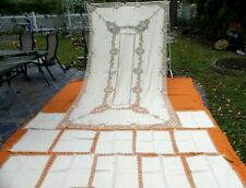 Vintage Italian Point Venise needle lace tablecloth linen embroidery with 12 nap