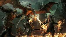 """011 Middle Earth Shadow of War - Army Orc Fight Game 24""""x14"""" Poster"""