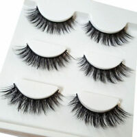 3 Pairs Makeup Handmade Natural Thick Long Cross False Fake Eyelashes Eye Lashes
