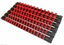 6 GOLIATH INDUSTRIAL ABS MOUNTABLE SOCKET RAIL HOLDER ORGANIZER RED 1/4 3/8 1/2