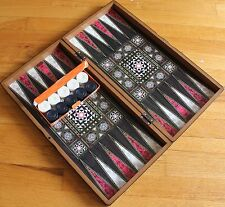 """19"""" Mother of Pearl Pattern Laminated Compressed Wood Checkers Backgammon Set"""