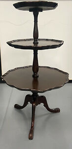 Three tier pie crust mahogany butlar's table by Superior Furniture Co - 1947