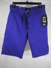 QRUEL Men's Casual Shorts with Belt 100% Cotton - Size 30 - Color Blue