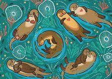 A1 Adorable Otter Family Poster Art Print 60 x 90cm 180gsm - Animal Gift #14984